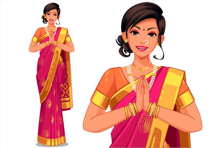 Vektor für Illustration of Indian women with traditional outfit - Lizenzfreies Bild