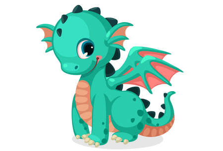 Illustration pour Cute green dragon cartoon vector - image libre de droit