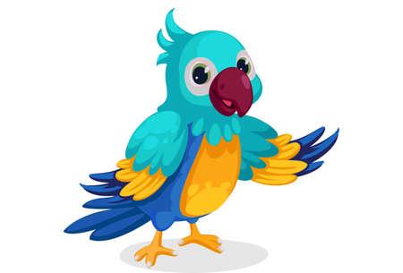 Illustration pour cute blue macaw cartoon standing in pose - image libre de droit