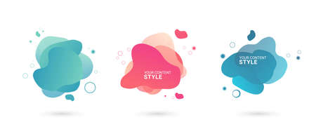 Illustration pour Set of abstract graphic elements, Gradient abstract banners with blue and pink color, abstract buttons design on white background, abstract Template for the design of a logo, flyer or Vector. - image libre de droit