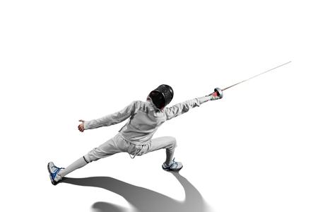 Foto de male fencer in action isolated - Imagen libre de derechos