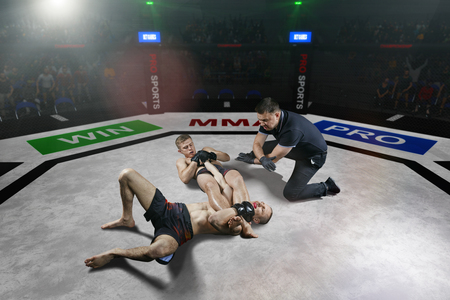 Foto de referee is stopping mma fight after the submission move - Imagen libre de derechos
