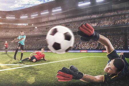 Photo for goalkeeper jumping for the ball on football match - Royalty Free Image