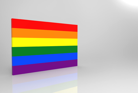 Photo pour 3d rendering. Lgbt rainbow flag shape wall with clipping path isolated on gray background. - image libre de droit