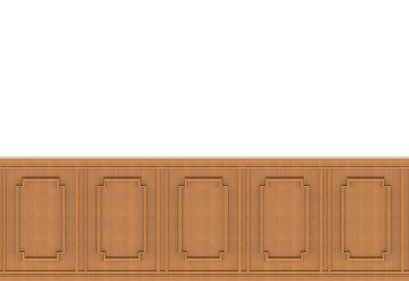 Photo pour 3d rendering. luxurious brown wood square shape pattern panel vintage design on white wall background. - image libre de droit