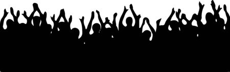 Illustration pour crowd people cheering vector isolated on white background - image libre de droit