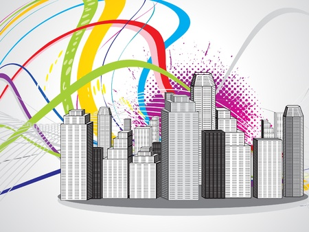 abstract colorful city vector illustration