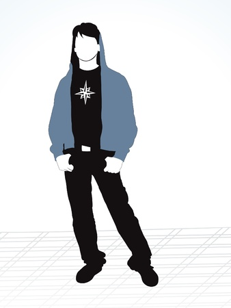 abstract style boy silhouette vector illustration