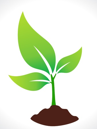 Illustration for abstract eco green plant with soil vector illustration - Royalty Free Image
