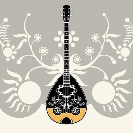 stylized greek folk musical instrument with decorative background,