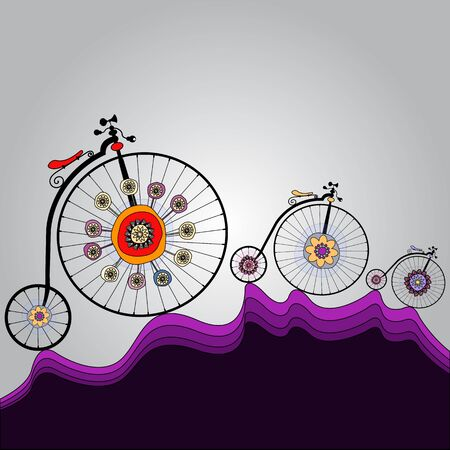 old colorful bicycles template with space for your message