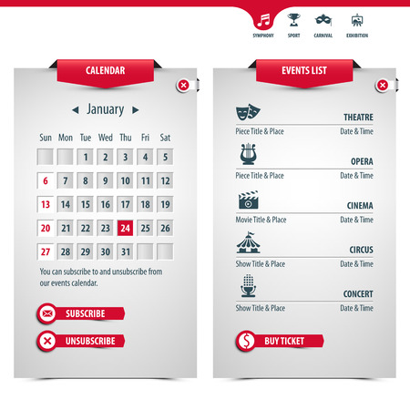 calendar and icons of the most popular events, contains transparencies for a high realistic effect