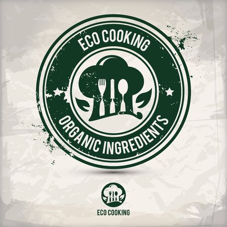 alternative eco friendly cooking stamp containing: two environmentally sound eco motifs in circle frames, grunge ink rubber stamp effect, textured paper background,  vector illustration
