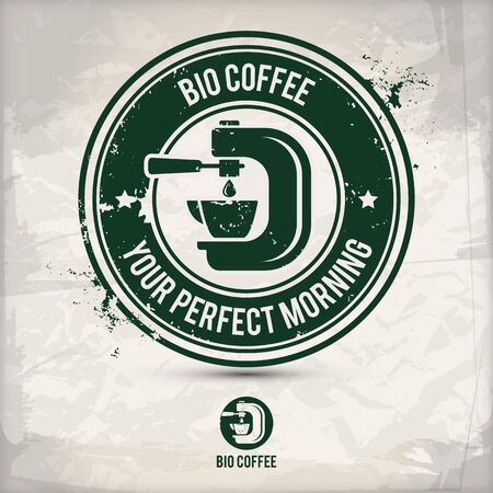 alternative bio coffee stamp containing: two environmentally sound eco motifs in circle frames, grunge ink rubber stamp effect, textured paper background,  vector illustration