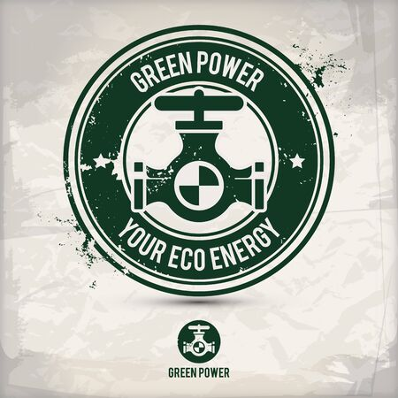 alternative green power stamp containing: two environmentally sound eco motifs in circle frames, grunge ink rubber stamp effect, textured paper background,  vector illustration