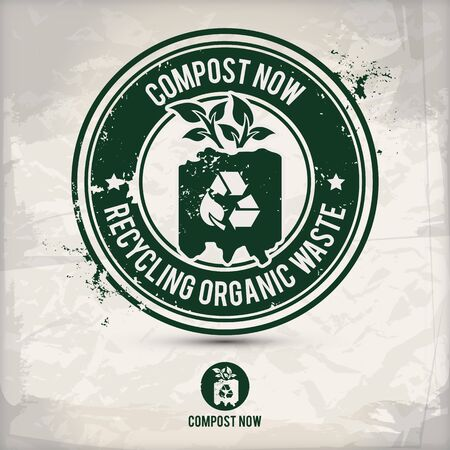 alternative composting stamp containing: two environmentally sound eco motifs in circle frames, grunge ink rubber stamp effect, textured paper background,  vector illustration