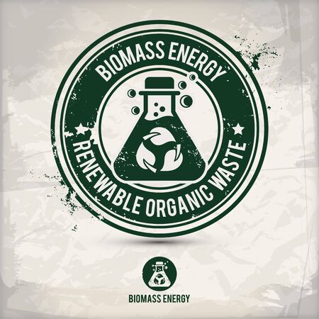 alternative biomass energy stamp containing: two environmentally sound eco motifs in circle frames, grunge ink rubber stamp effect, textured paper background