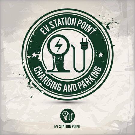 alternative ev station point stamp containing: two environmentally sound eco motifs in circle frames, grunge ink rubber stamp effect, textured paper background