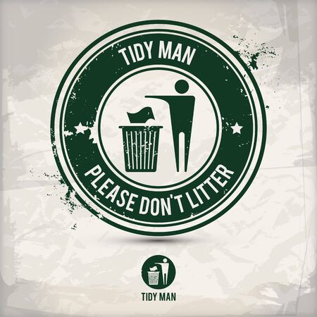 alternative tidy man stamp containing: two environmentally sound eco motifs in circle frames, grunge ink rubber stamp effect, textured paper background