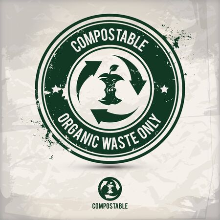alternative compostable waste stamp containing: two environmentally sound eco motifs in circle frames, grunge ink rubber stamp effect, textured paper background