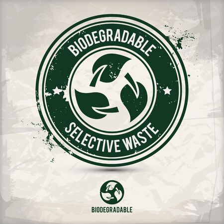 alternative biodegradable waste stamp containing: two environmentally sound eco motifs in circle frames, grunge ink rubber stamp effect, textured paper background