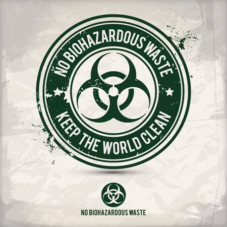 alternative no biohazardous waste stamp containing: two environmentally sound eco motifs in circle frames, grunge ink rubber stamp effect, textured paper background