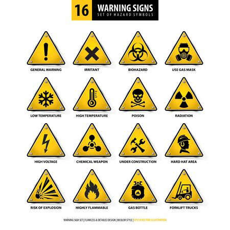 Illustration pour vector set of warning signs, collection of hazard symbols, 16 high detailed danger emblems, isolated 3d triangle shapes, gradient style design, illustration of yellow danger boards on white background - image libre de droit