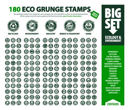 Illustration for big vector set of Eco icons, huge pack of ecology & environment themes: renewable energy, global warming, recycling, plastic waste, the five thumbnails contain ink drop which can be used on each stamp - Royalty Free Image