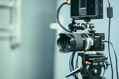 Photo for Film camera on a tripod in a television studio - Royalty Free Image