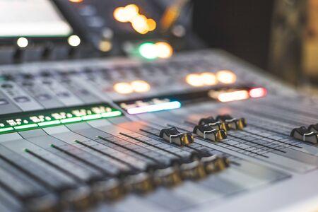Photo pour Professional music production in a sound recording studio. Sound engineer is working. - image libre de droit