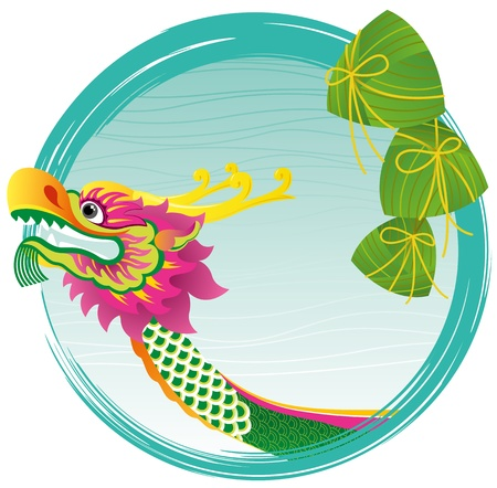 Chinese Dragon boat head and zong zi art design, for Dragon boat festival