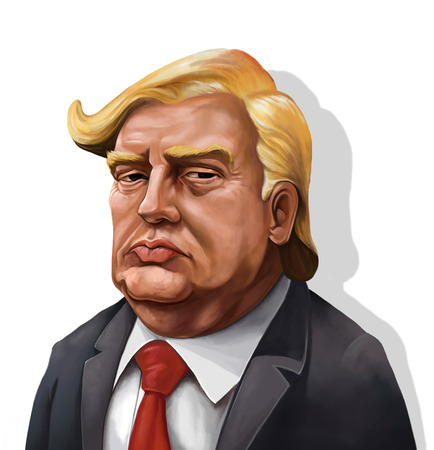 January 18, Cartoon Portrait of Donald Trump With Shadow- Illustration of the American PresidentBy Erkan Atay
