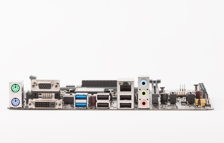 Ports of new, modern computer motherboard, isolated on white background.
