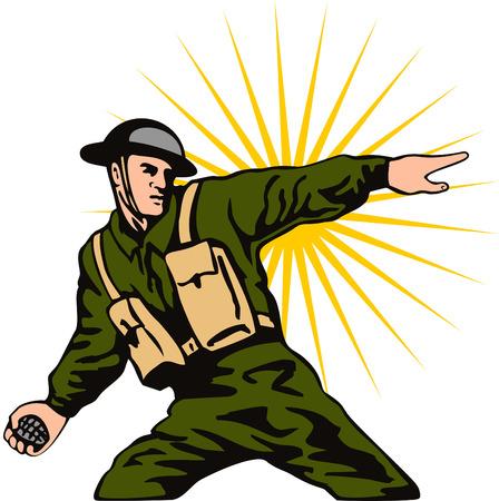 World war 2 soldier throwing a grenade