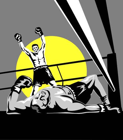 Boxer celebrating a knockout