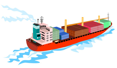 Container ship on white background