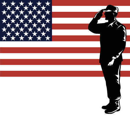 Foto per American soldier with flag - Immagine Royalty Free
