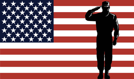 Foto per American serviceman with flag - Immagine Royalty Free