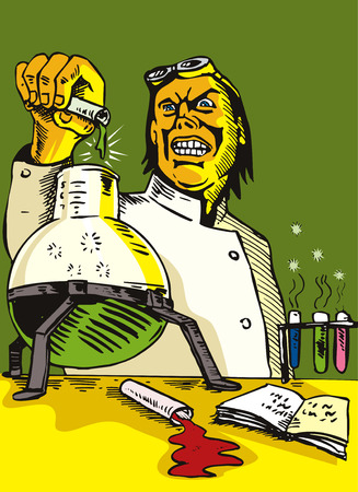 Mad Scientist pouring contents of test
