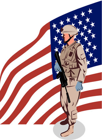 Foto per American Military serviceman and flag - Immagine Royalty Free
