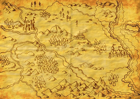 illustration drawing of a map of a fantasy land showing rivers, mountain range,trees,forest,monastery,castles,road,sea,coast,land on grunge texture background
