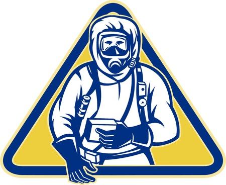 Illustration of a worker wearing a hazardous chemical hazchem suit facing front set inside triangle.