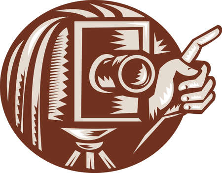 Illustration of a vintage bellow camera with hand pointing done in retro woodcut style set inside circle