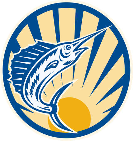 Illustration of a blue marlin fish jumping done in retro woodcut style set inside circle