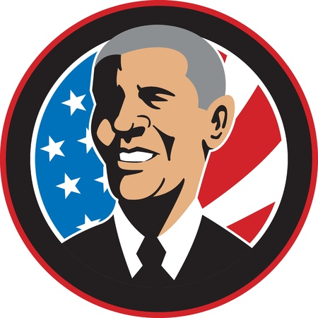 Illustration of American President Barack Obama with stars and stripes flag set inside circle done in retro style.