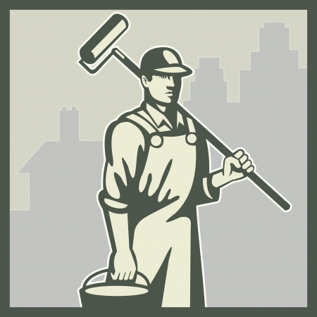 Illustration of a house painter worker tradesman with paint roller and bucket viewed from front with residential house and office building in background set inside square done retro style