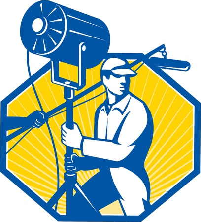 Illustration of a electrical lighting technician crew with fresnel spotlight and sound boom microphone set inside hexagon done in retro style