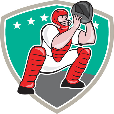Illustration of a baseball catcher catching squatting facing front set inside shield shape done cartoon style isolated on white background.