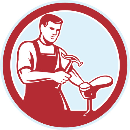 Illustration of a shoemaker cobbler shoe repair with hammer and shoe working set inside circle on isolated white background done in retro style.