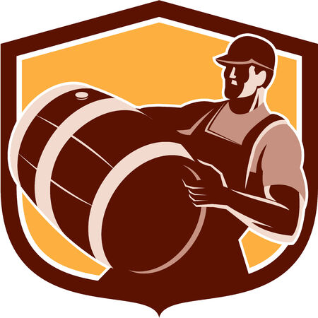 Illustration pour Retro style illustration of a bartender worker carrying beer keg barrel drum looking up set inside shield on isolated white background. - image libre de droit
